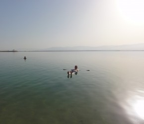 Brian Crisp floats away the day in the Dead Sea