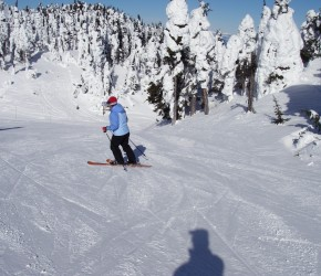 Alison Crisp slides down the mountain at Sun Peaks in Canada